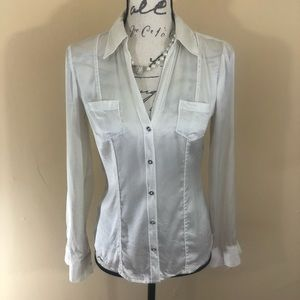   WHBM   off-white button down silk blouse top 2